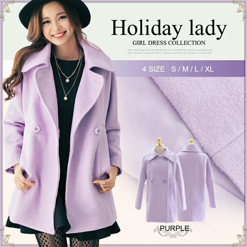 天使嫁衣【HL6698】韓版加厚保暖進口羊毛尼雙排扣風衣大衣外套˙預購訂製款