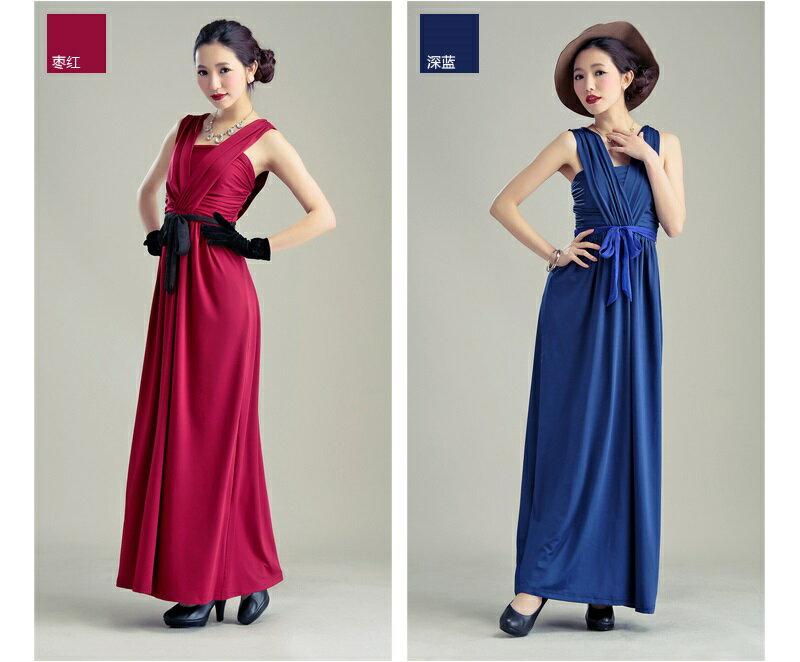 天使嫁衣~HLWM8018~暗紅色中大 高貴氣質前後大V撞色腰帶性感長洋裝禮服~下架 ~