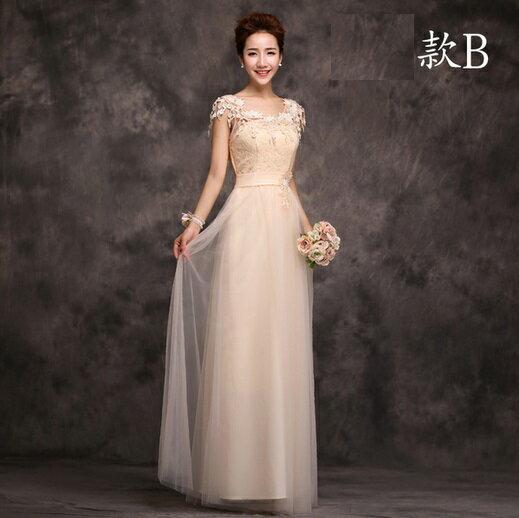 天使嫁衣【ISTB003LB】香檳色花型蕾絲雙肩伴娘長禮服˙預購訂製款+現貨