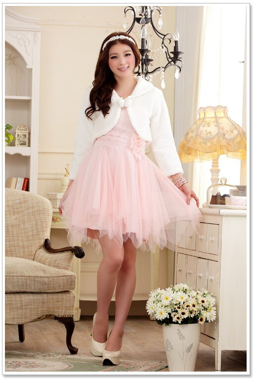 天使嫁衣【J2K611】白色中大尺碼甜美閨蜜伴娘禮服披肩毛毛外套˙預購訂製款