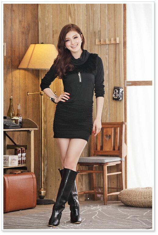 天使嫁衣【J2K508】2色中大尺碼韓版時尚顯瘦長袖仿皮草打底衫洋裝˙預購
