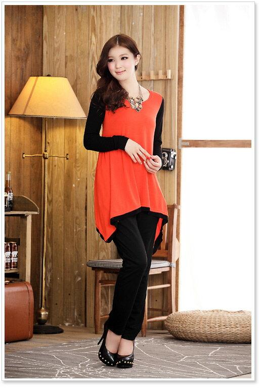 天使嫁衣【J2K511】3色中大尺碼維納絲之美拼色圓領舒適大擺上衣˙預購