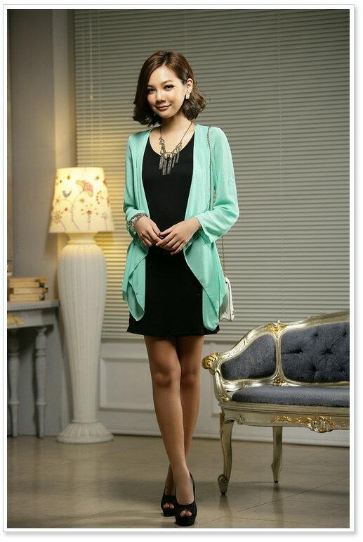 天使嫁衣【J2K512】2色中大尺碼韓版顯瘦打底衫雪紡針織假兩件套洋裝-預購