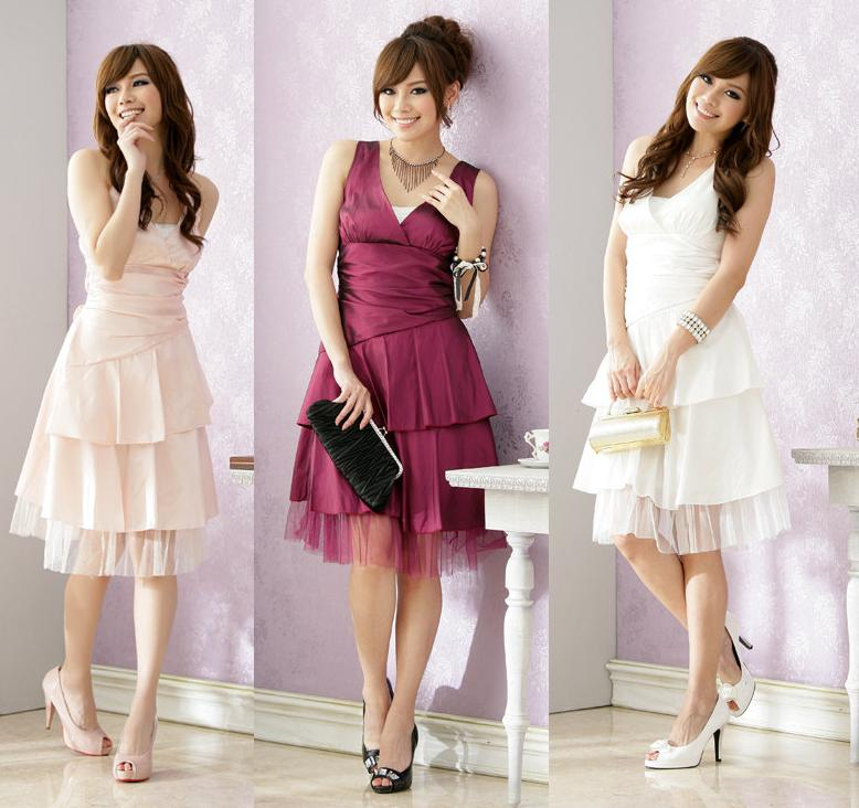 天使嫁衣【J2K1270】3色繞頸綁帶伴娘洋裝小禮服-下架