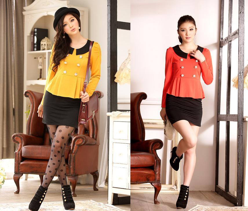 天使嫁衣~J2K518~2色中大 雙排扣拼色 職業連衣裙˙ 訂製款
