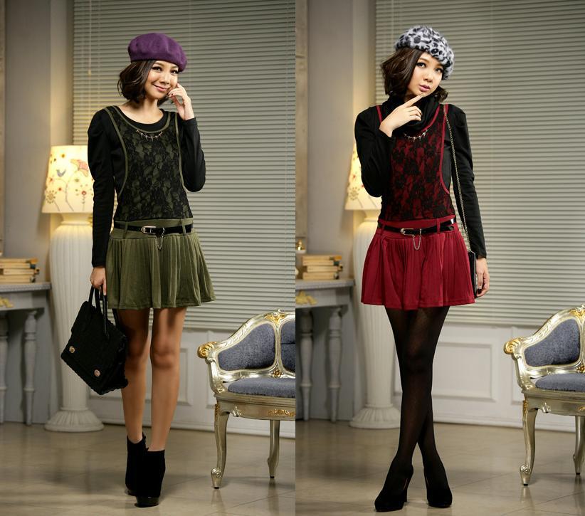 天使嫁衣【JK602】2色都市麗人壓折假兩件套連衣裙˙預購