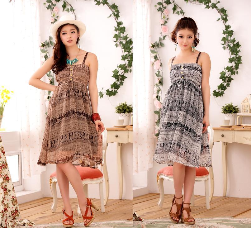 天使嫁衣~J2K8106~2色復古的盛夏圖騰花長版洋裝˙ 訂製款