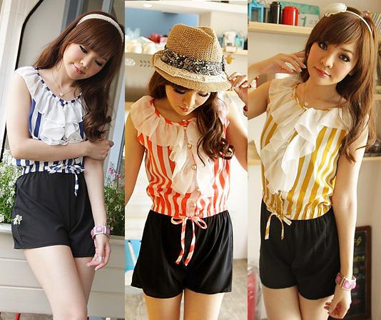 天使嫁衣【JK8127】3色繽紛夏季條紋顯瘦連衣褲˙預購