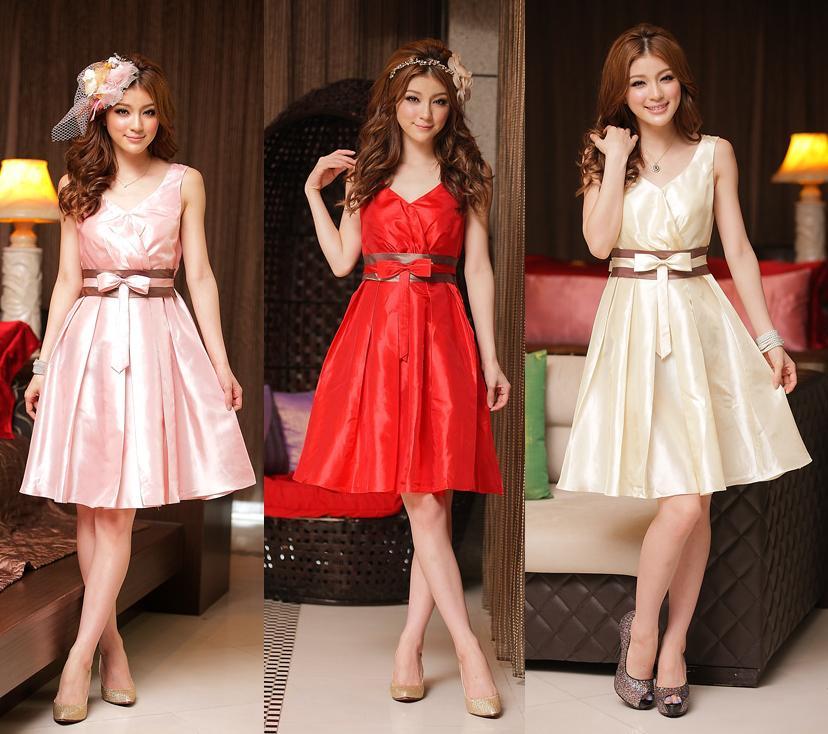 天使嫁衣【J2K8223】3色中大尺碼貴族時尚V領拼色洋裝小禮服˙預購訂製款