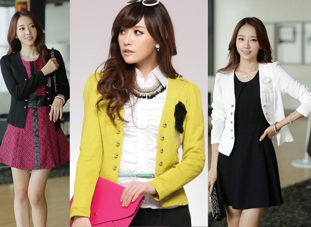 天使嫁衣【J2K9113】3色韓版色彩百搭修身假雙排扣西裝小外套˙預購