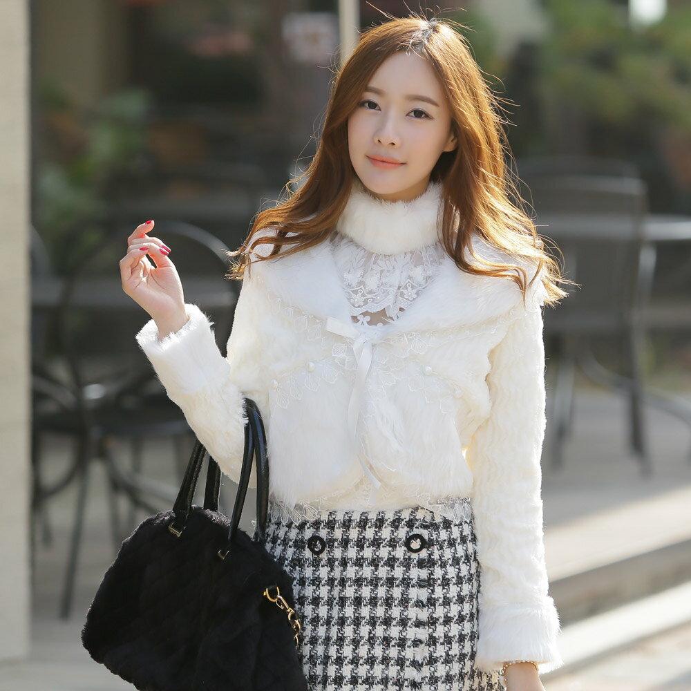 天使嫁衣【J2K9362】白色歐美大牌仿皮草毛毛翻領百搭短外套披肩˙預購