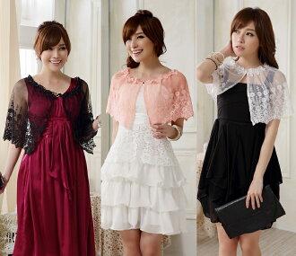 天使嫁衣【J2K9615】3色歐美蕾絲百搭遮肩甜美公主衫披肩小外套˙預購
