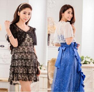 天使嫁衣【J2K9637】2色甜美蕾絲百搭短袖空調開衫披肩小外套˙預購