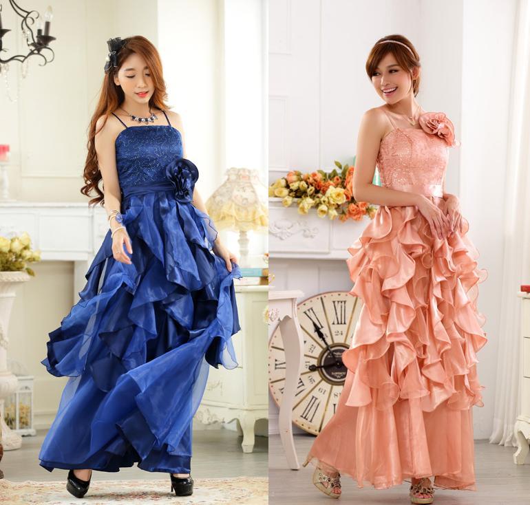 天使嫁衣【J2K9723】2色晚會美豔裙大擺公主裙亮片吊帶長洋裝禮服˙預購