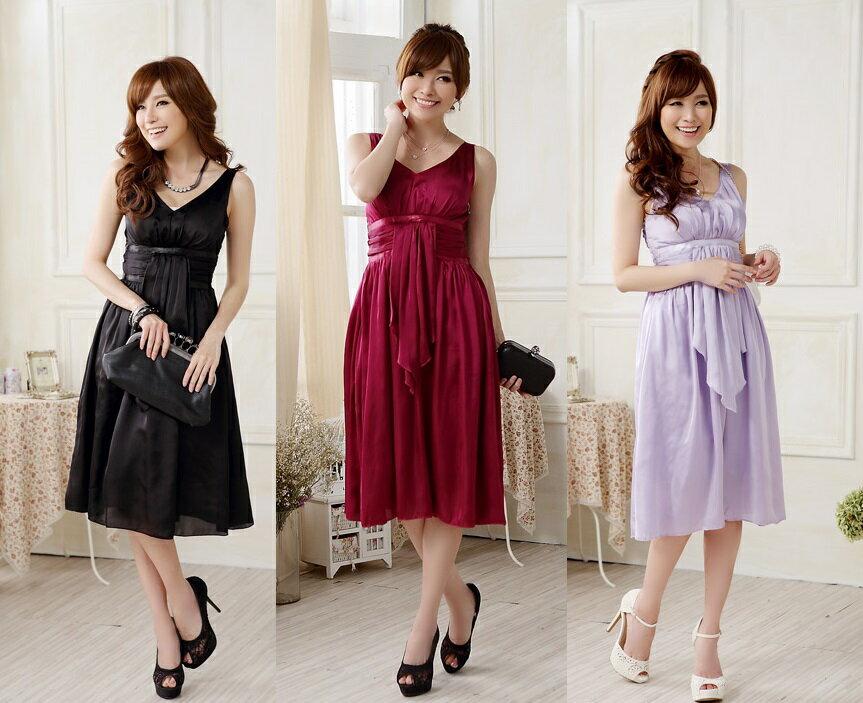 天使嫁衣【J2K9808】3色歐美聚會包胸性感仿真絲高雅洋裝小禮服˙預購