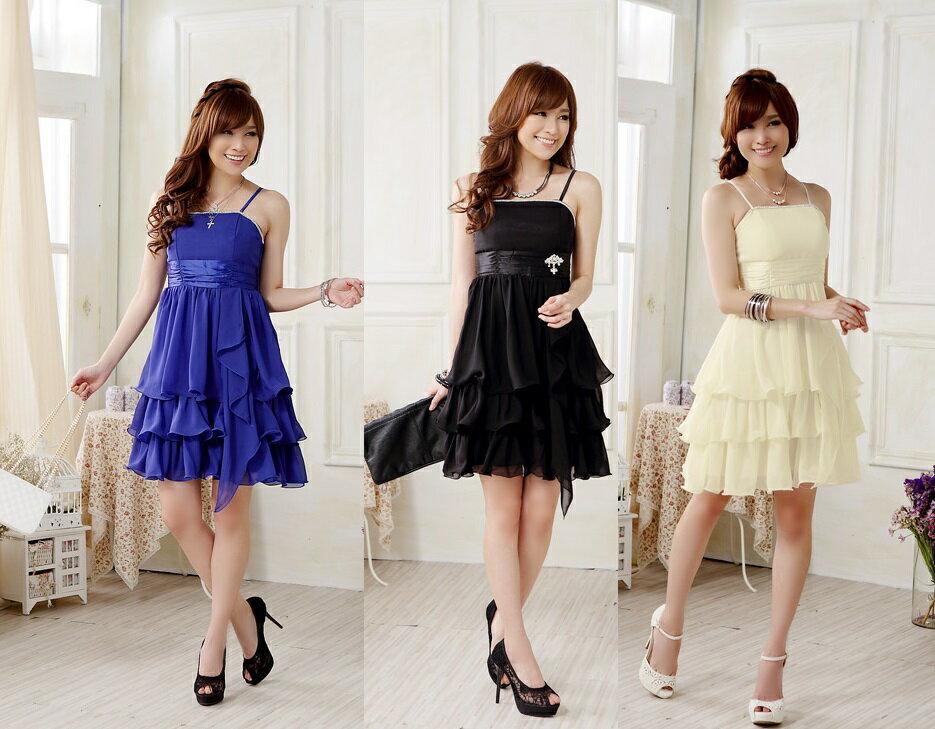 天使嫁衣【J2K9908】3色歐美風高檔亮鑽蛋糕公主洋裝小禮服˙預購
