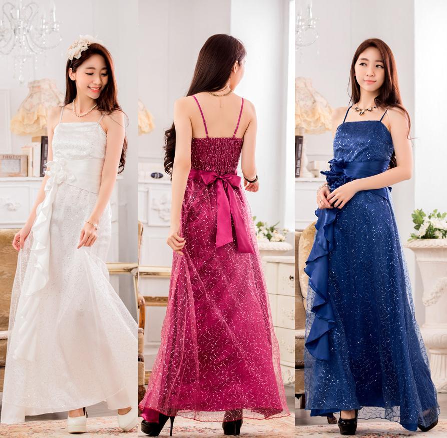 天使嫁衣【J2K9929】3色中大尺碼時尚滿天星亮片長洋裝禮服˙預購訂製款