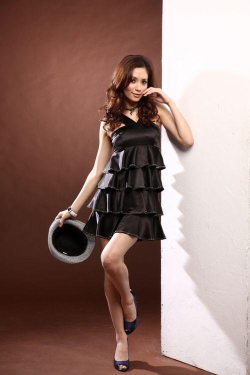 天使嫁衣【朵琪拉9069】黑色交叉V領蛋糕亮鑽洋裝小禮服˙下架
