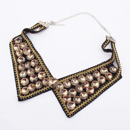 天使嫁衣【TO4373】香檳色歐美時尚氣質水晶假領項鍊˙現貨特價出清