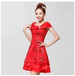 天使嫁衣【BAL612】紅色一字領亮片繡花修身短禮服˙下架