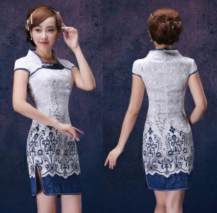 天使嫁衣【ISGZ027】復古改良式印花旗袍短禮服˙下架