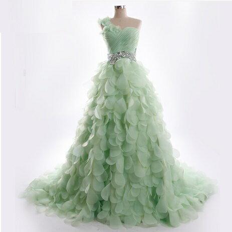天使嫁衣【RM6676】單肩花片造型高檔拖尾禮服˙預購客製款