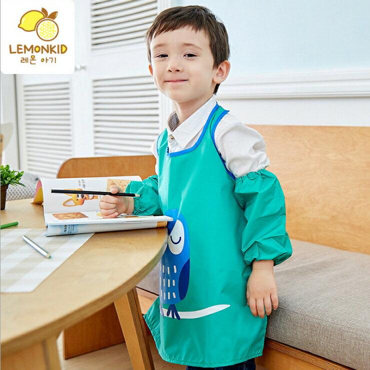 Lemonkid◆ 糖果色晚安貓頭鷹卡通造型純色防水防髒環保罩衣畫畫衣圍裙式-綠色