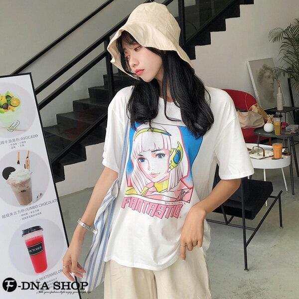F-DNA★卡通少女印花圓領短袖上衣T恤(白-M-2XL)【ET12709】 4