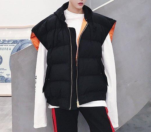 FINDSENSEG6韓國時尚廓形棉馬甲男士特寬連帽無袖棉外套加絨加厚背心