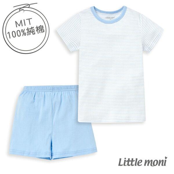 Littlemoni家居系列短袖套裝(兩件組)-亮天藍