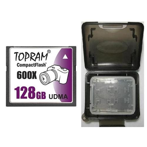 TOPRAM 128GB CF 128G CompactFlash Card 600X Extreme Speed UDMA 6 RAW with Multifunction Memory Protective Case
