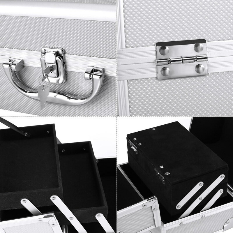 Makeup Travel Case Jewelry Box Lockable Cosmetic Organizer 4