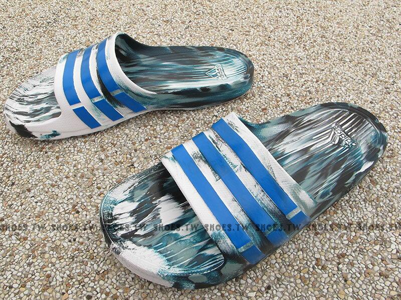 Shoestw【AQ5256】ADIDAS DURAMO SLIDE 拖鞋 一體成型 綠白藍 迷彩 男生 1