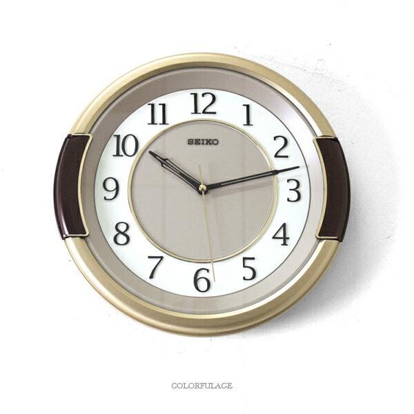 SEIKO精工掛鐘 質感金圓框時鐘【NG32】柒彩年代