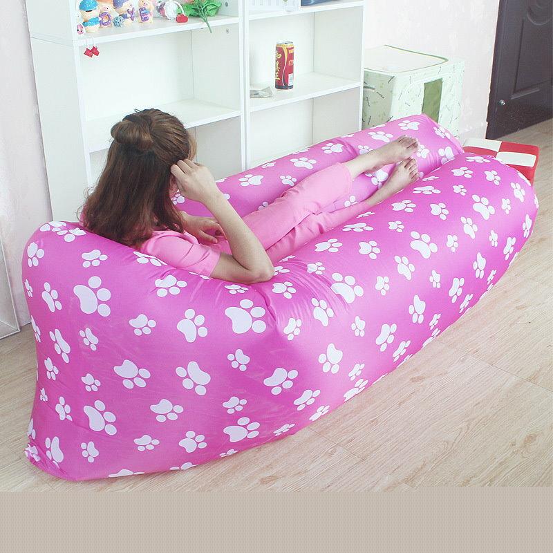 二代改良新款 腳丫圖案 充氣沙發 便攜式睡袋 可折疊式空氣沙發床 外銷款懶人沙發 Air Sofa 【風雅小舖】 1