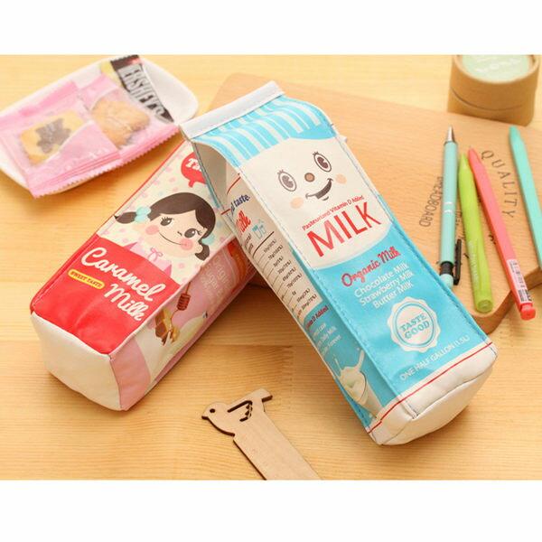 韓版創意可愛牛奶筆袋鉛筆盒鉛筆袋【庫奇小舖】