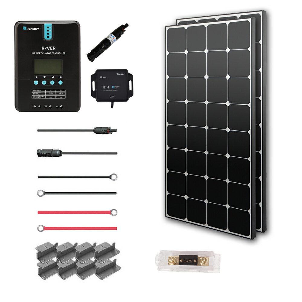 Renogy 200 Watt 12 Volt Off Grid Solar Premium Kit with Eclipse Solar Panel and 20A MPPT Rover Controller 0