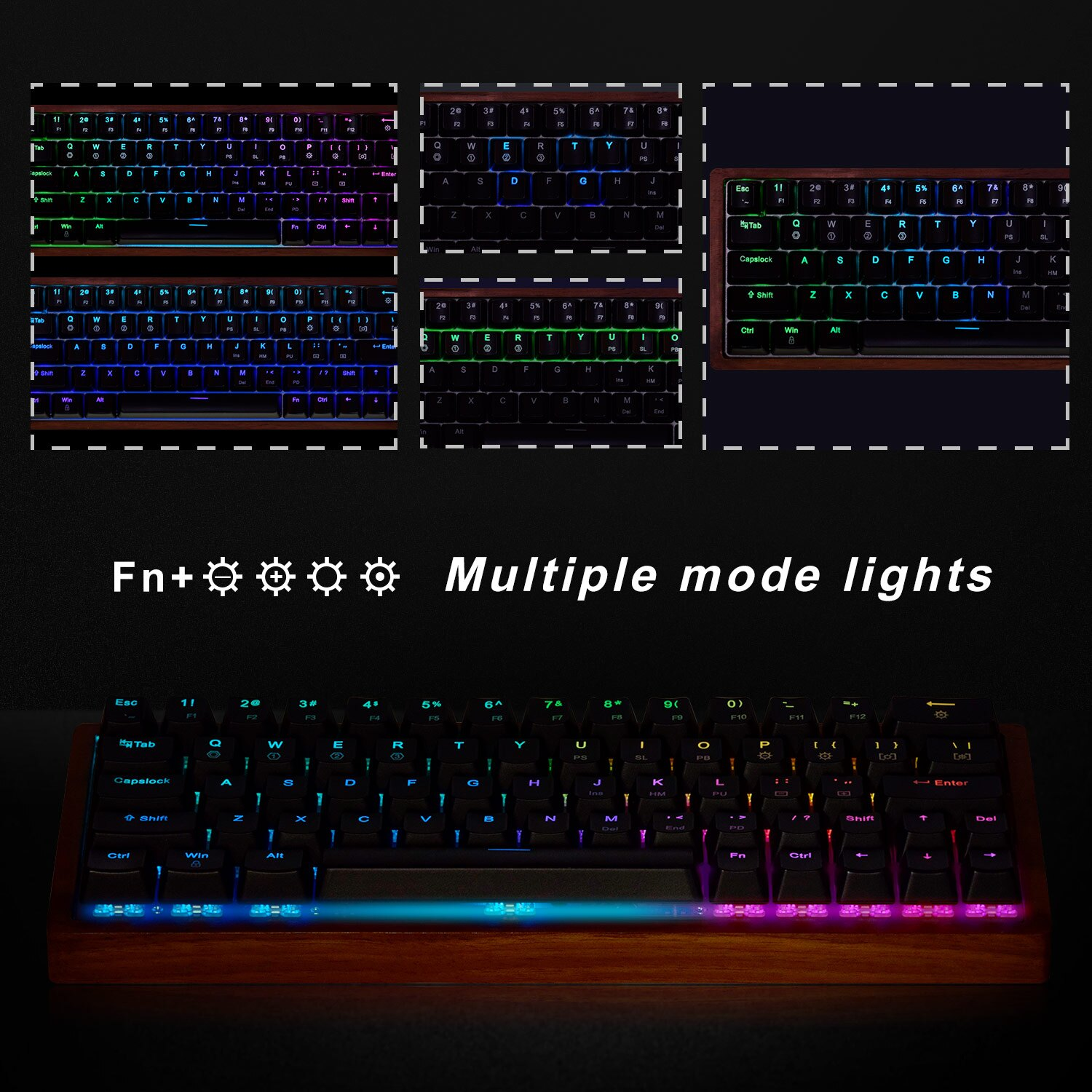 Mechanical Gaming Keyboard,Mini Mechanical Keyboard with RGB LED Backlit  and Wooden Frame (Cherry MX Brown Switches)