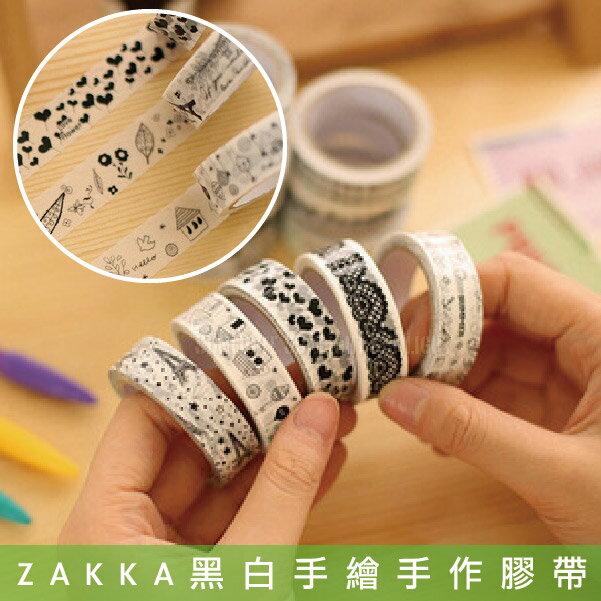 日光城。ZAKKA風格清新可愛黑白手繪手作膠帶,DIY鐵塔造型日記手帳貓咪鐵塔鬍子 PVC(10001692)