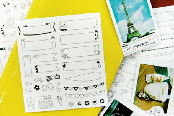○日光城。心情話框白底貼紙,拍立得相片照片底片可愛圖案裝飾貼紙 留言板對話框貼5206