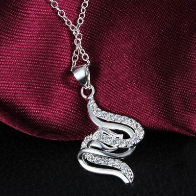 925純銀項鍊 鑲鑽吊墜~獨特波浪 精緻生日母親節 女 73ax33~ ~~米蘭 ~