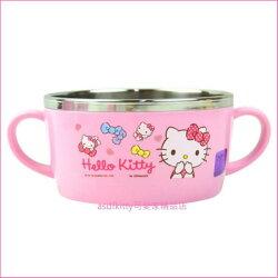 asdfkitty可愛家☆KITTY粉水玉防燙不鏽鋼有把手鋼碗/湯杯/湯碗-韓國製