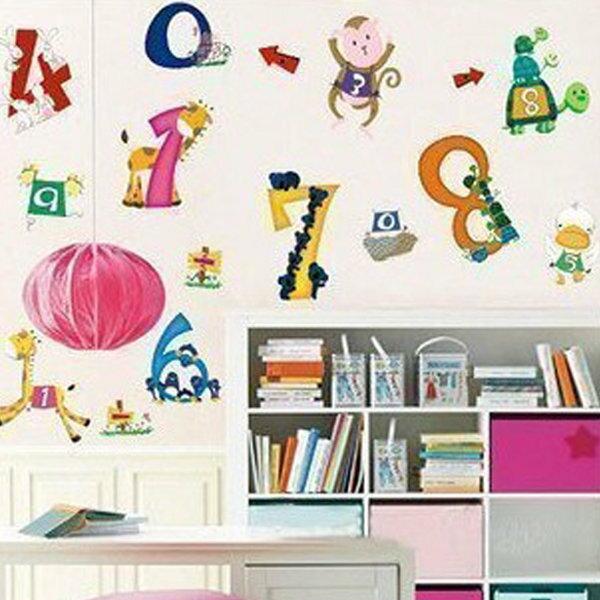 BO雜貨【YV0664】DIY時尚裝飾組合可移動壁貼 牆貼 壁貼 創意壁貼 動物數字LD626