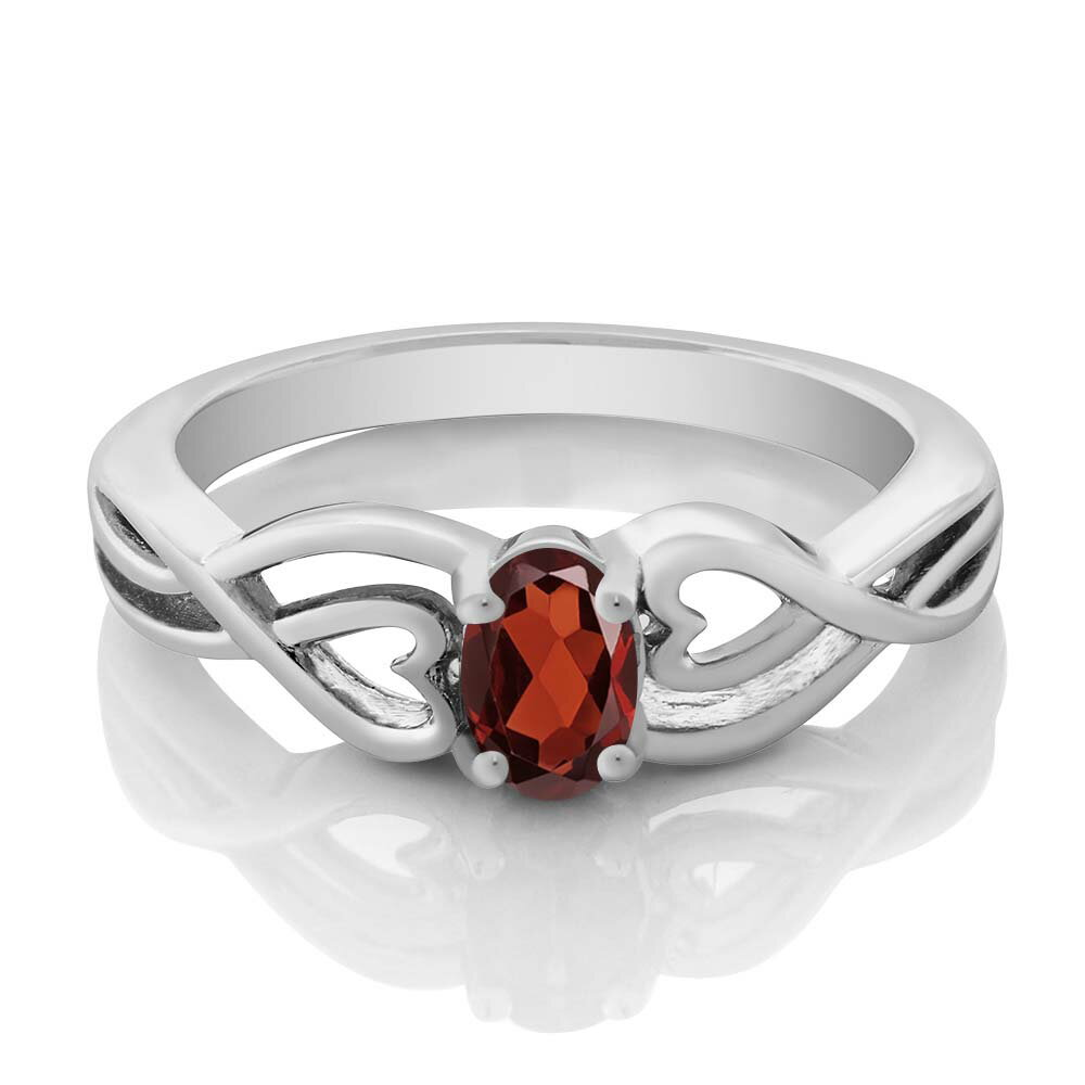 0.50 Ct Oval Red Garnet 925 Sterling Silver Ring 1