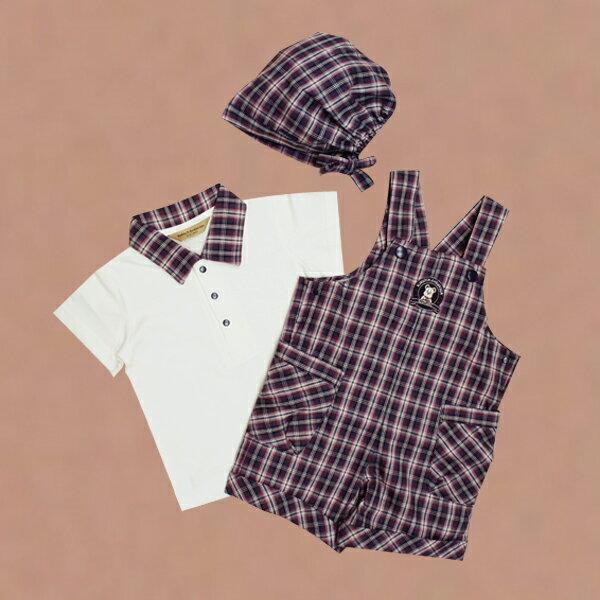 【金安德森】春夏新生兒套裝禮盒-POLO衫+格子吊帶褲
