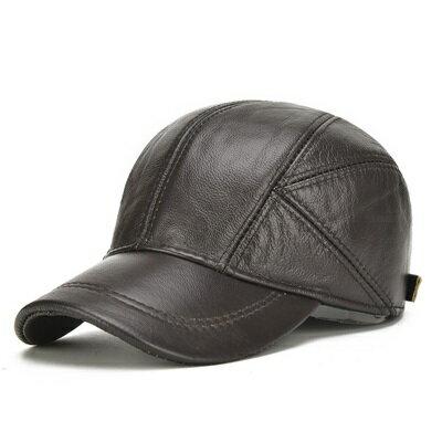鴨舌帽真皮棒球帽-純色牛皮夾棉護耳男帽子2色73rq1【獨家進口】【米蘭精品】