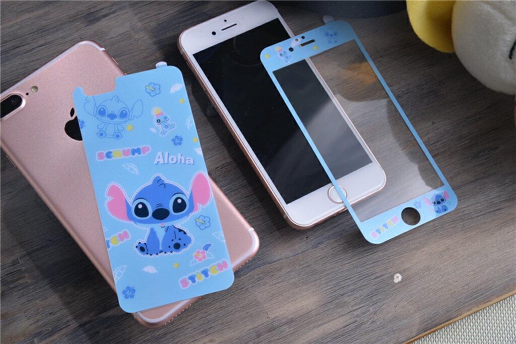 iPhone6/6s i5 i5se i7 i7plus 史迪奇 卡通保護貼 全版 9H玻璃鋼化膜 全覆蓋 保護膜【GP美貼】