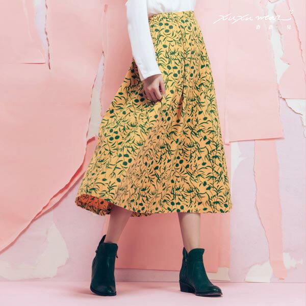 許許兒:許許兒xKapuwa渺渺森林-木刻染印花八分裙-暖黃