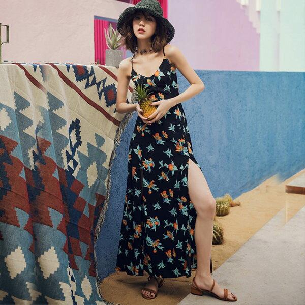 PS Mall 印花海邊沙灘裙 露背裙 連身裙 洋裝【T380】 1
