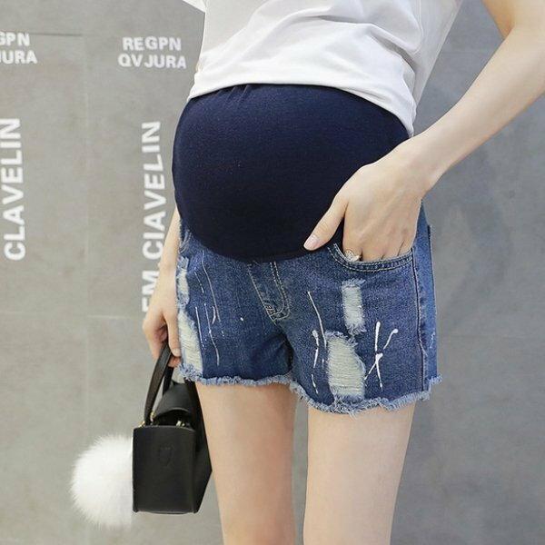 *漂亮小媽咪*韓國噴漆毛邊破洞孕婦托腹褲孕婦牛仔褲抓破孕婦裝迷你短褲P8025